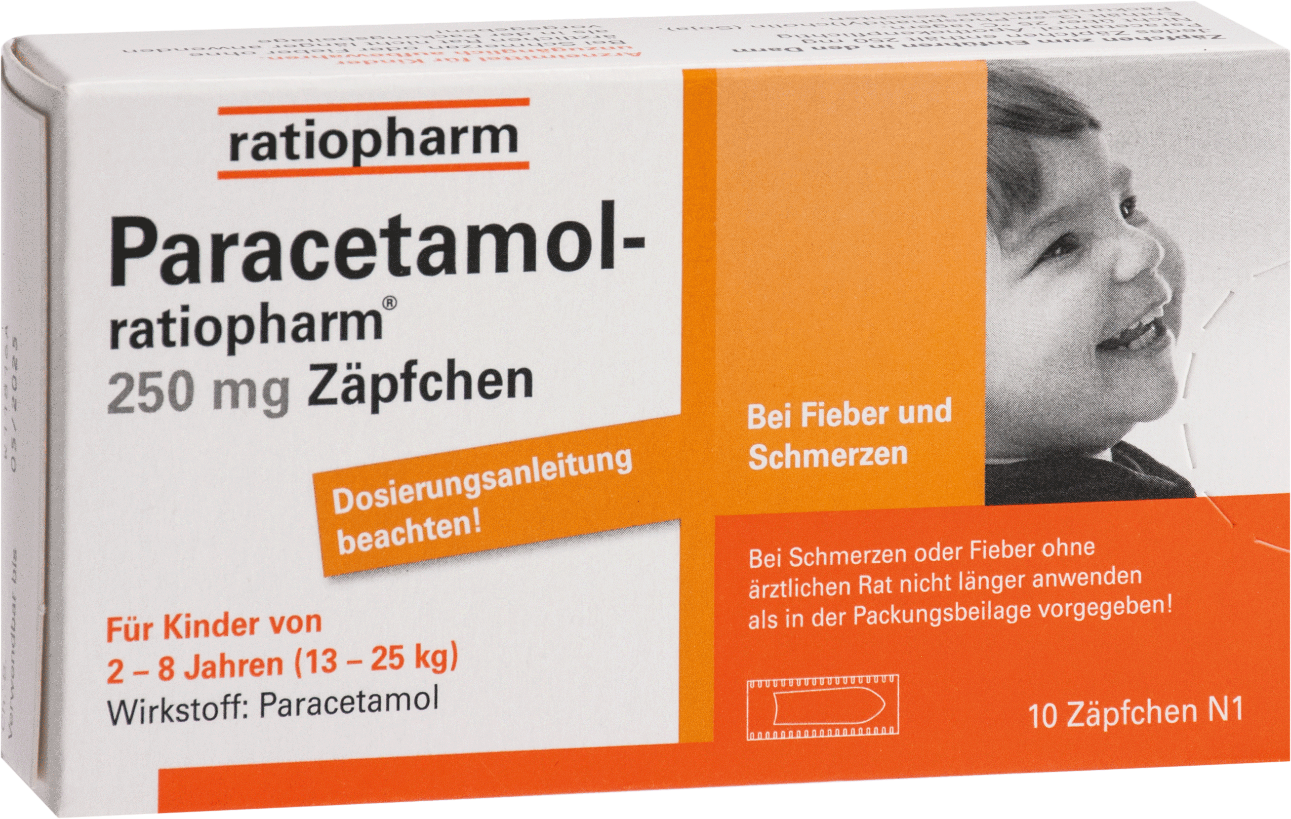 Paracetamol-ratiopharm 250mg Zäpfchen