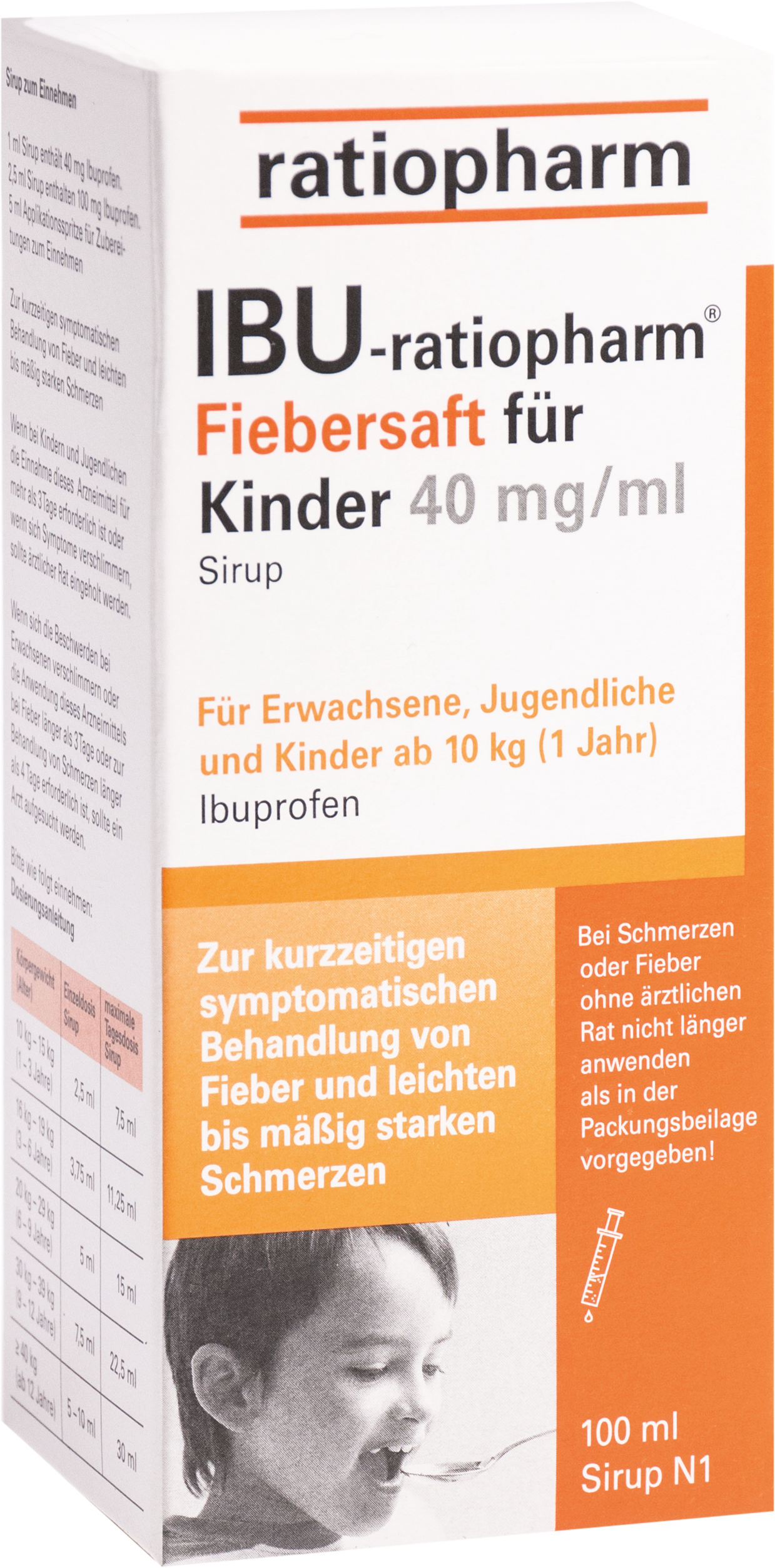 Ibu-ratiopharm Fiebersaft für Kinder 40mg/ml