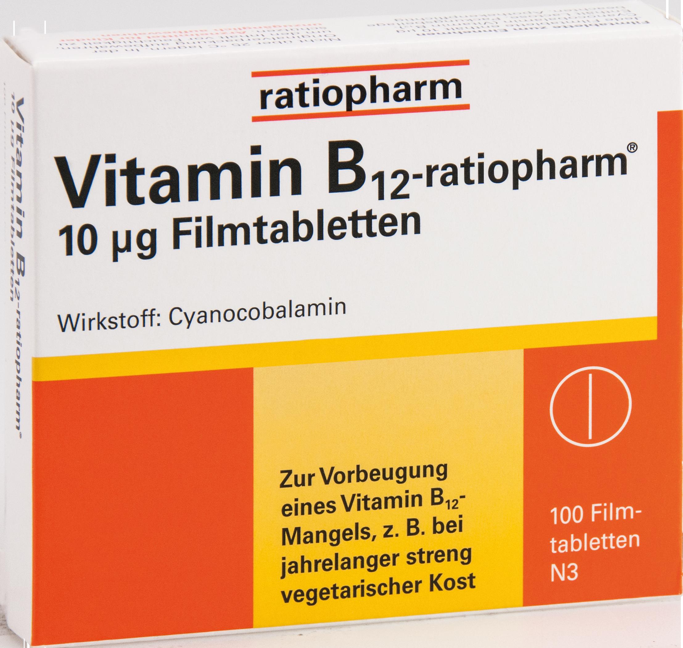 Vitamin-B12-ratiopharm 10ug Filmtabletten