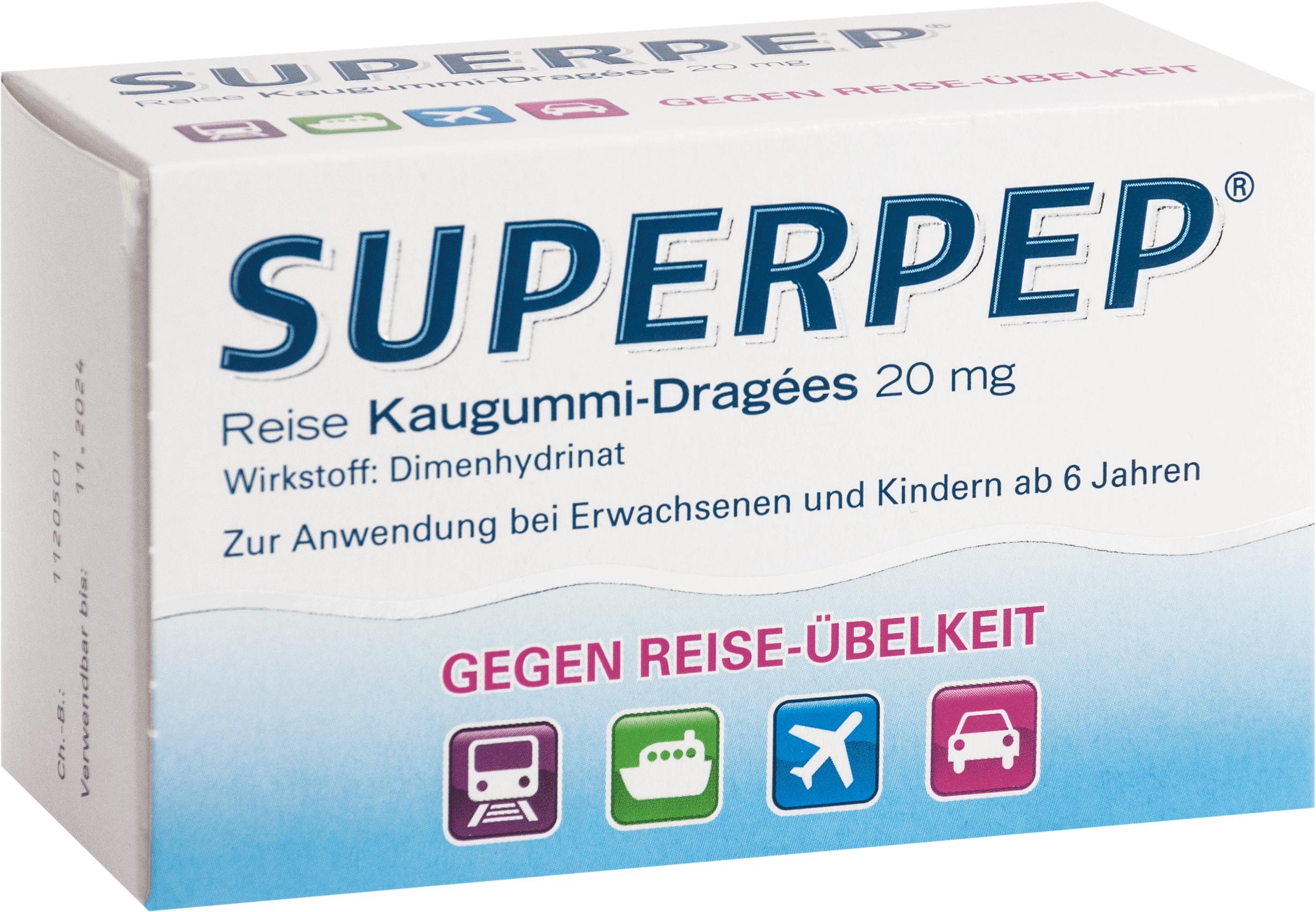 Superpep Reise Kaugummi-Dragees 20mg