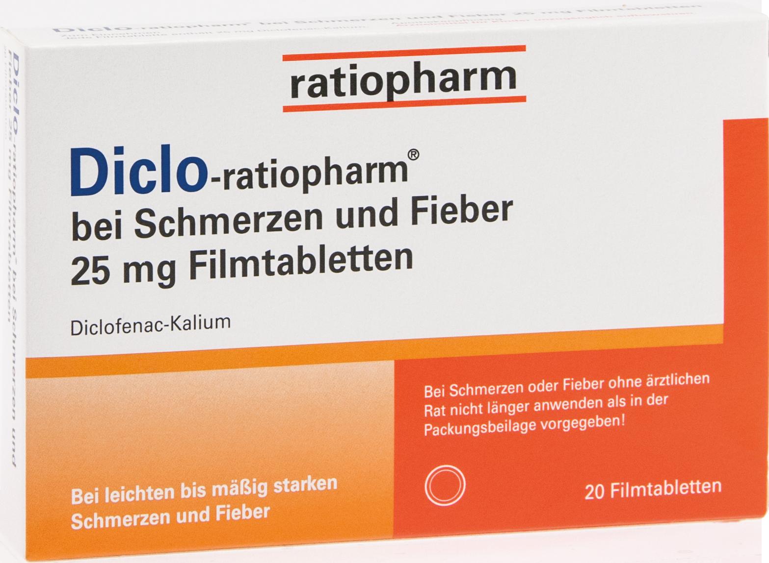 Diclo-ratiopharm bei Schmerzen und Fieber 25 mg