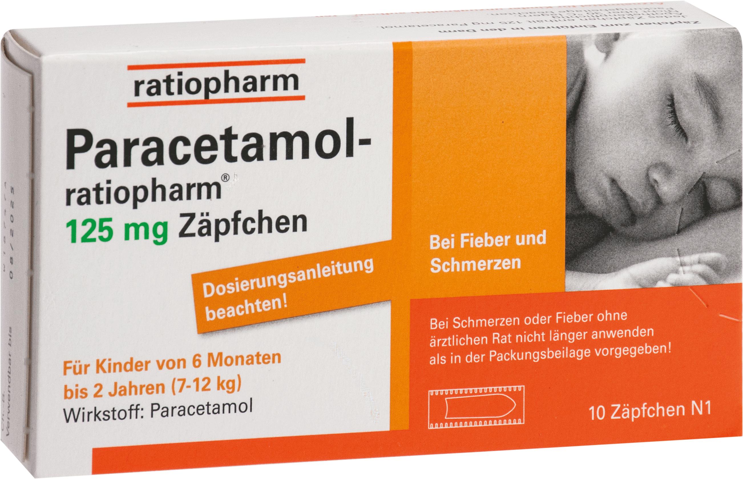 Paracetamol-ratiopharm 125mg Zäpfchen