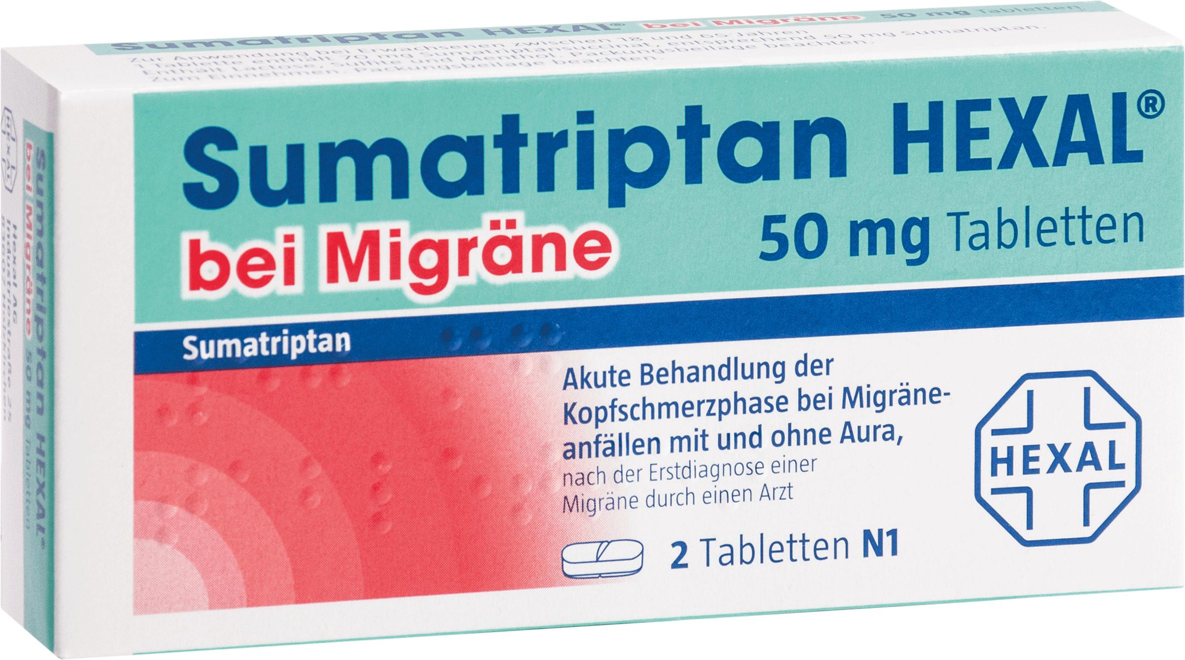 Sumatriptan HEXAL bei Migräne 50 mg Tabletten
